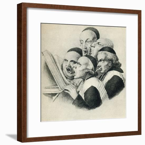 19th Century Satirical Cartoon Showing Singing Dutch Clerics--Framed Giclee Print