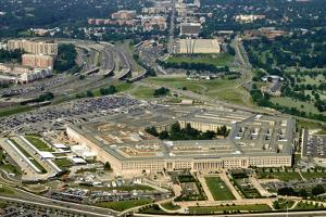Aerial of the Pentagon, the Department of Defense Headquarters in Arlington, Virginia, near Washing by 1photo
