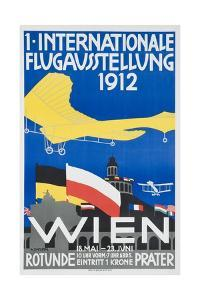 1st International Flying Expo Vienna Austria 1912 Advertising Poster