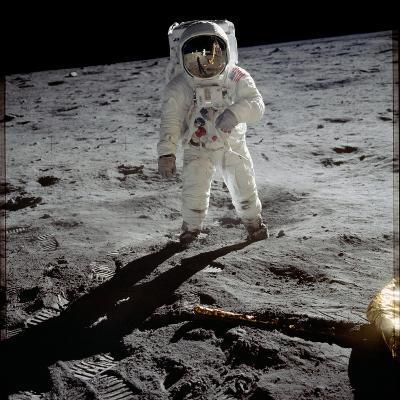 "1st Steps of Human on Moon: American Astronaut Edwin ""Buzz"" Aldrinwalking on the Moon--Photo"