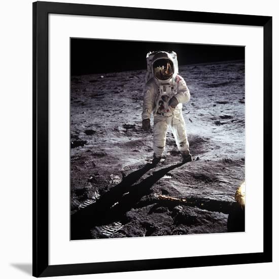 "1st Steps of Human on Moon: American Astronaut Edwin ""Buzz"" Aldrinwalking on the Moon-null-Framed Photo"