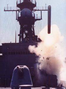 1st Successful Tomahawk Cruise Missile Launch from Armored Box Launcher on Destroyer USS Merrill