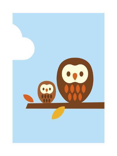 2 Owls-Dicky Bird-Giclee Print