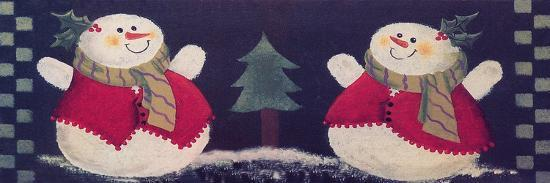 2 Snowmen with Tree Between Them with Checkered Border on Either Side-Beverly Johnston-Giclee Print
