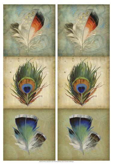 2-Up Feather Triptych I-Jennifer Goldberger-Art Print