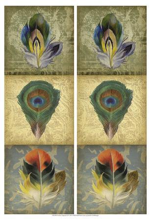 2-Up Feather Triptych II-Jennifer Goldberger-Art Print