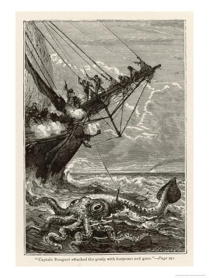 20,000 Leagues Under the Sea: Attacking a Giant Squid-Hildebrand-Premium Giclee Print