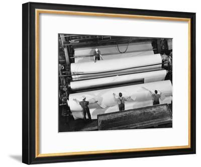 20 Ft. Roll of Finished Paper Arriving on the Rewinder, Ready to Be Cut and Shipped from Paper Mill-Margaret Bourke-White-Framed Premium Photographic Print
