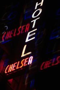 2000s Multiple Exposure Neon Sign Hotel Chelsea New York City