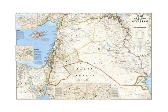 2003 Iraq and the Heart of the Middle East Map Art Print by National  Geographic Maps | Art com