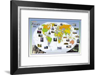 2004 World of Places Map-National Geographic Maps-Framed Art Print