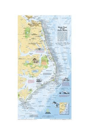 2008 Ghost Fleet of the Outer Banks 1970 Map-National Geographic Maps-Premium Giclee Print