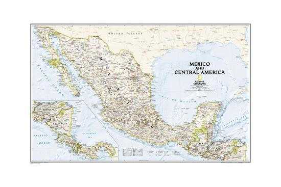 2008 Mexico and Central America Map Art Print by National Geographic Maps |  Art.com