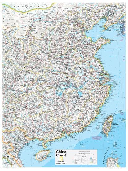 China Map Poster.2014 China Coast National Geographic Atlas Of The World 10th