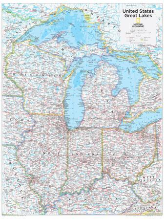 2014 Great Lakes US - National Geographic Atlas of the World, 10th Edition