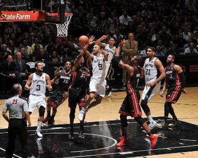 2014 NBA Finals Game Two: Jun 8, Miami Heat vs San Antonio Spurs - Tony Parker-Garrett Ellwood-Photo