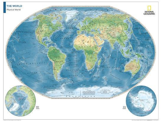 2014 Physical World Map National Geographic Atlas Of The World