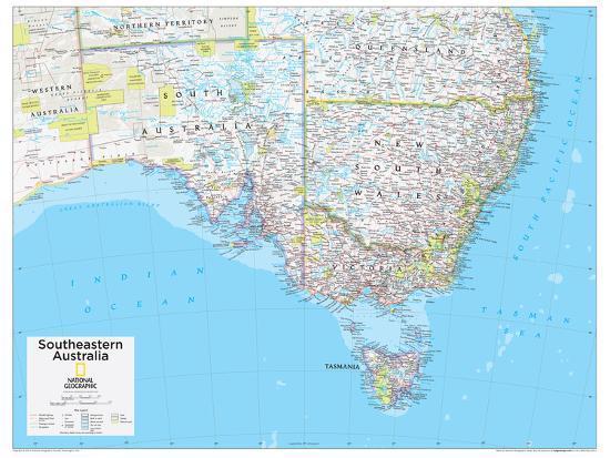 Australia Map Poster.2014 Southeastern Australia National Geographic Atlas Of The World