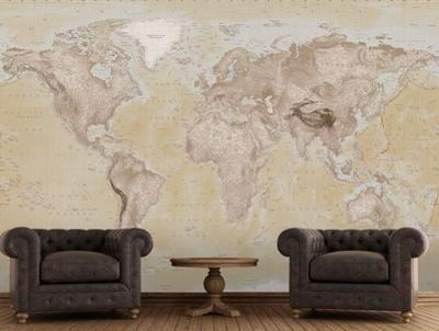 2015 Neutral Map Wallpaper Mural