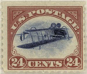24-Cent U.S. Postage Stamp with an Inverted Jenny