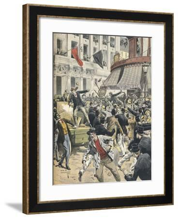 24 Hour Strike Accompanied by Public Disorder at Labor Exchange in Paris--Framed Giclee Print