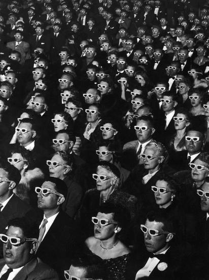 "3-D Movie Viewers during Opening Night of ""Bwana Devil""-J^ R^ Eyerman-Photographic Print"