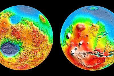 3-D Topography of Mars--Photographic Print