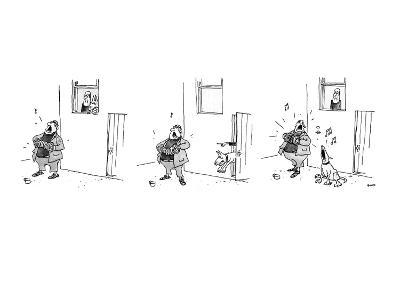 3 drawings. A man plays a accordion beneath a window.  The man in window l? - New Yorker Cartoon-George Booth-Premium Giclee Print