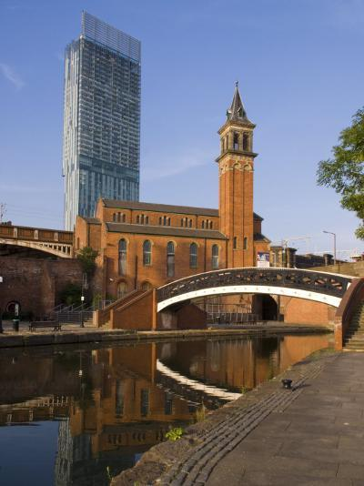 301 Deansgate, St. George's Church, Castlefield Canal, Manchester, England, United Kingdom, Europe-Charles Bowman-Photographic Print