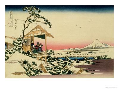 36 Views of Mount Fuji, no. 24: Tea House at Koishikawa (The Morning after a Snowfall)-Katsushika Hokusai-Giclee Print