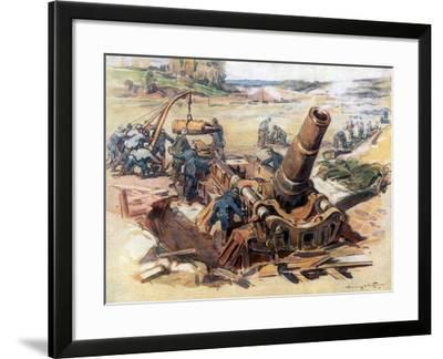 370 Mortar in Action, 1918-Henry Cheffer-Framed Giclee Print