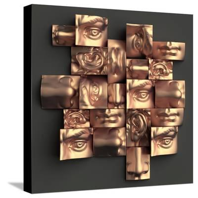 3D Render, Digital Illustration, Abstract Copper Metallic Blocks, Eyes, Ear, Nose, Lips, Mouth, Ana-wacomka-Stretched Canvas Print