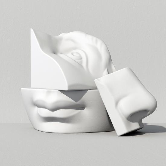3D Render, Digital Illustration, Classic Art Objects, Face Details, Mosaic,  Abstract Blocks, Eyes, Art Print by wacomka | Art com