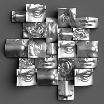 3D Render, Digital Illustration, Classic Art Objects, Face Details, Mosaic, Abstract Blocks, Eyes,-wacomka-Art Print