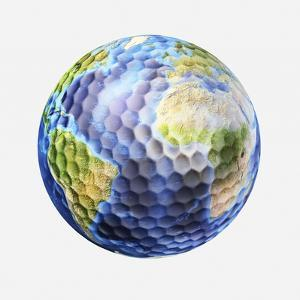3D Rendering of a Planet Earth Golf Ball, White Background