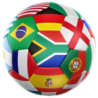 3D Rendering Of A Soccer Ball With Flags Of The Participating Countries In World Cup 2010-zentilia-Art Print