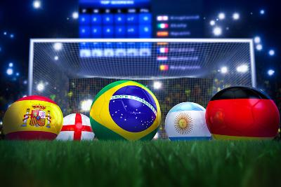 3D Rendering Of Footballs In The Year 2014 In A Football Stadium-coward_lion-Art Print