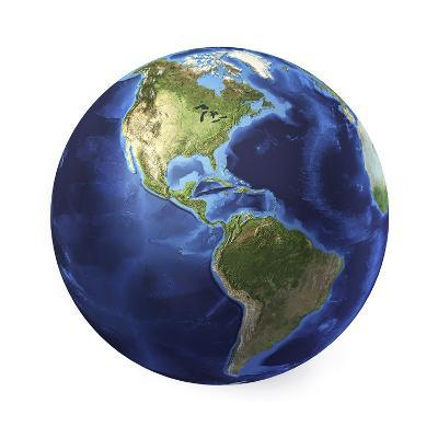 3D Rendering of Planet Earth, Centered on North America and South America--Art Print