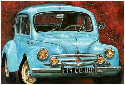 4 CV Bleue-Cobe-Art Print
