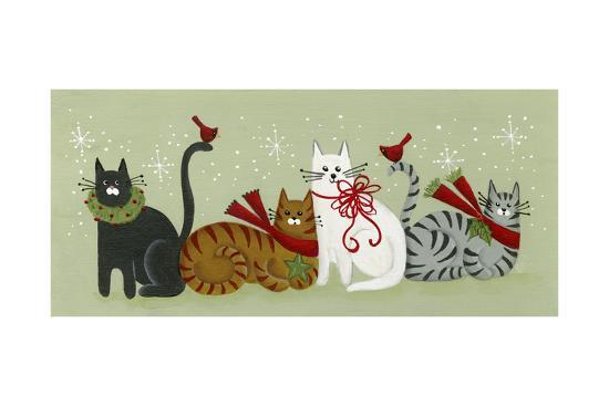 4 Holiday Cats and 2 Cardinals-Beverly Johnston-Giclee Print