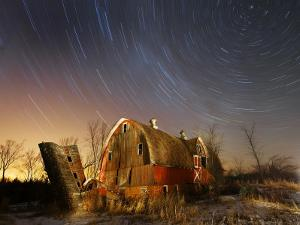 45-Minute Exposure for Circular Star Tracks over This Run-Down Barn Near Iron River, Wisconsin
