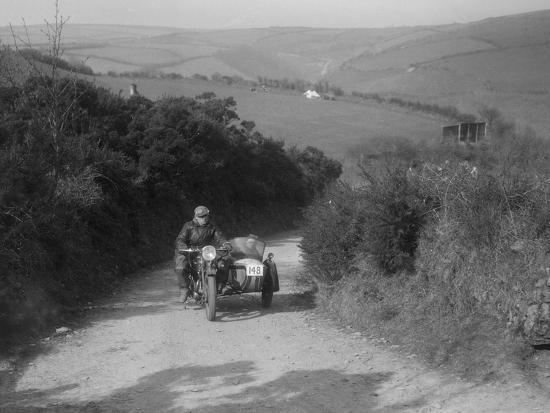 497 cc Ariel and sidecar of R Newman at the MCC Lands End Trial, Beggars Roost, Devon, 1936-Bill Brunell-Photographic Print