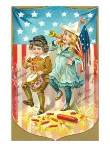 4th of July, Children with Bugle and Drum