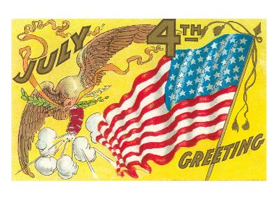 4th of July, Eagle with Firecrackers--Art Print