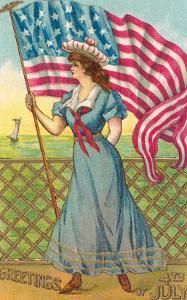 4th of July, Lady with Flag