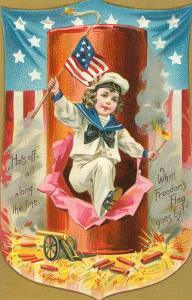 4th of July, Sailor Boy Jumping out of Rocket