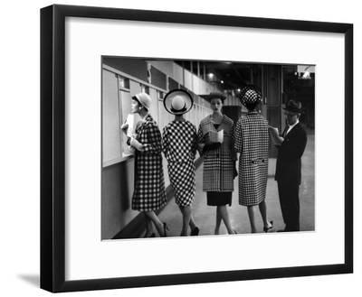 5 Models Wearing Fashionable Dress Suits at a Race Track Betting Window, at Roosevelt Raceway-Nina Leen-Framed Premium Photographic Print