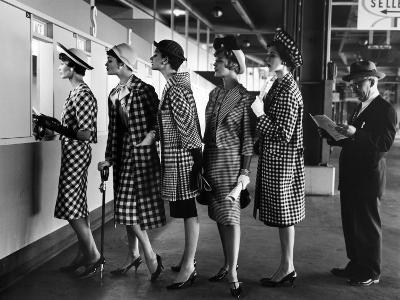 5 Models Wearing Fashionable Dress Suits at a Race Track Betting Window, at Roosevelt Raceway-Nina Leen-Photographic Print