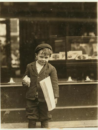 5 Year Old Newsboy Tommy Hawkins Only 3 Ft 4 Ins Tall, Working in St. Louis, Missouri, 1910-Lewis Wickes Hine-Photographic Print