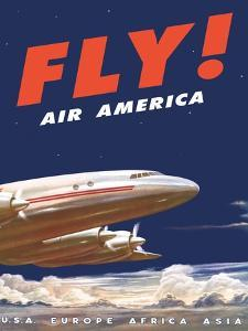 50's Fly Air America Constellation Poster